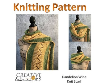 Instant Download Knit Scarf Pattern, Scarf Tutorial, Knitted Scarf Pattern, Lace Scarf Pattern,Knitting Scarf Pattern, Lace Knit Pattern