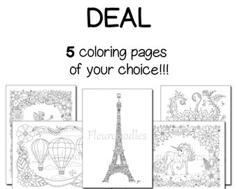 Pack of 5 coloring pages - Adult Coloring Book, anti stress, flowers, quotes, printable, adult colouring, mandala scrapbooking, Fleurdoodles