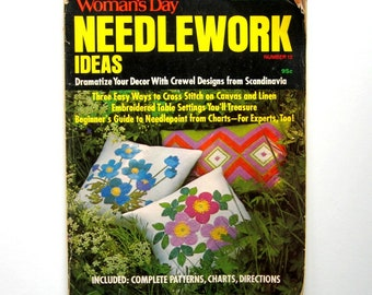 Vintage Woman's Day Needlework Ideas - Number 12 - 1972 - Beginner's guide to needlepoint, Patterns, charts, and directions, Craft magazine