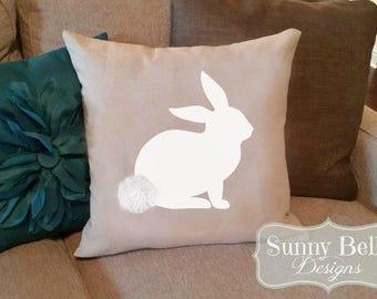 Easter Bunny Pillow Cover - Linen/Cotton Bunny Pillow