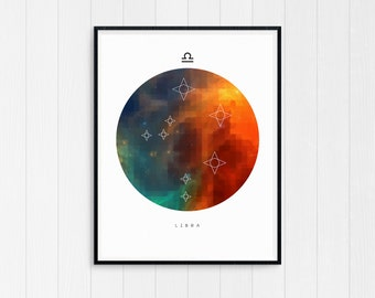 Libra Print, Libra Zodiac, Libra Art, Zodiac Art Print, Libra Constellation, Horoscope Decor, Digital Download, Libra Zodiac Poster, Libra