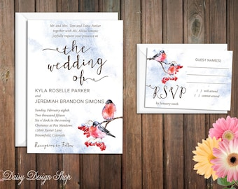 Wedding Invitation - Winter Birds in Berry Tree - Invitation and RSVP Card with Envelopes