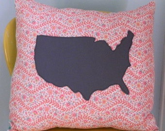 USA Throw Pillow 15x15, home decor, America