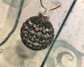 Baby Midnight Silver Beaded Christmas decoration; silver bauble, christmas bauble; christmas tree ornament; victorian decoration