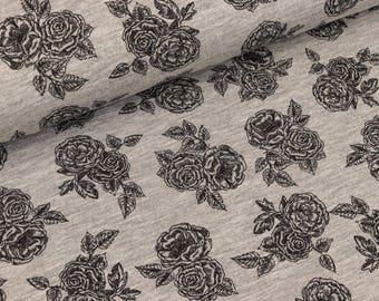Viscosejersey Romantic roses black on light grey mottled (9.90 EUR/meter)