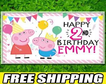 Peppa Pig Personalized Printed Custom Name Vinyl Banner Happy Birthday Banner