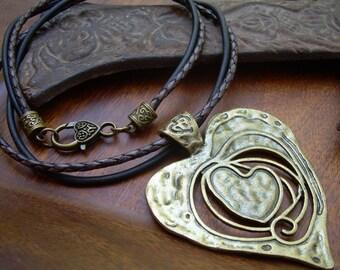 Large Heart Pendant Necklace, Heart Pendant on a Leather Necklace, Heart Necklace, Womens Jewelry, Heart Pendant, Pendant, Womens Gift,