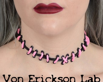 Cute creepy - Frankenstein Monster Glam Stitches Choker-Bubble Gum  Pink and Black Thin  stitches