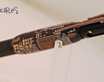 Handturned Bolt Action Pen - Black Circuit Board