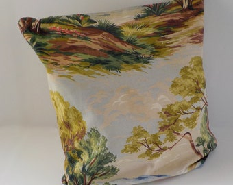 Vintage Barkcloth Pillow Cover • Textured Cotton Vintage Fabric Pillow Cover