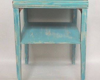 Vintage Turquoise Distressed Accent Table, End Table, Night Stand PICK UP ONLY