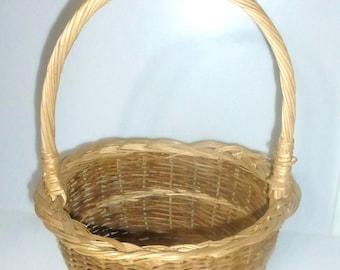 011218 Vintage Basket Vintage Wicker Basket Braided Rim Old Handle Basket Harvest Basket Farm Basket Garden Basket Yarn Basket Craft Basket
