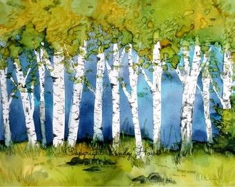 Digital art, digital download, landscape, alcohol ink, trees, birch trees, birches, birch tree,
