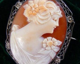 vintage Italian carved cameo brooch pin   sardonyx shell   sterling silver frame   post Victorian Edwardian era   bridal wedding jewelry