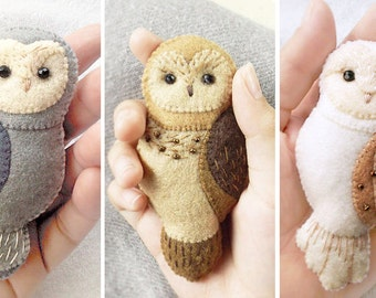 10% DISCOUNT Set of Three Handmade Owl Brooches, Embroidered Felt Owl Brooches with Discount, Gift for Owl Lovers