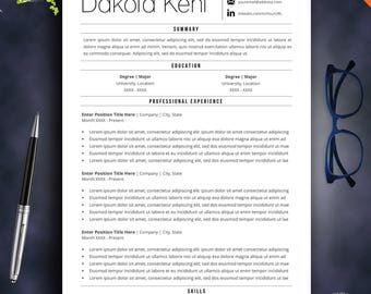 Resume Template, Minimalist Resume, CV Template, Professional Resume, Fashion Resume, Instant Download, Modern Resume, Word Template, Easy