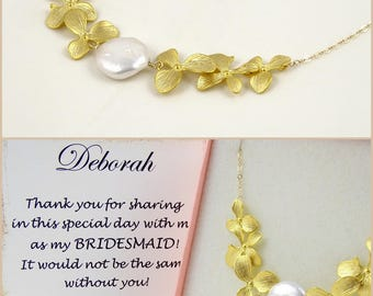 Gold Flower Statement Necklace // White Coin Freshwater Pearl Jewelry // Anniversary Gifts for Her 1st Year