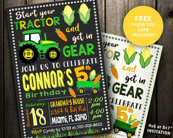 Tractor Invitations, Tractor Birthday Invitation, Tractor party Invite, instant download printable digital file custom card Farm