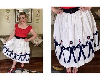 Novelty sailors border print 1950s cotton skirt