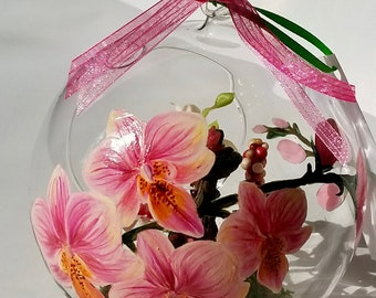 Hand Painted Glass Terrarium Ornament Welcoming Orchids