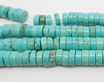 "15""  Blue  Turquoise  Heishi  Beads  Gemstone  8mm"