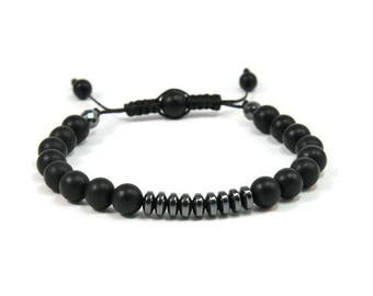Urban Men's Onyx & Hematite Pull Tie Single Bracelet. Boho Jewelry. Bohemian Jewelry. Ideas for him. Gift for him.