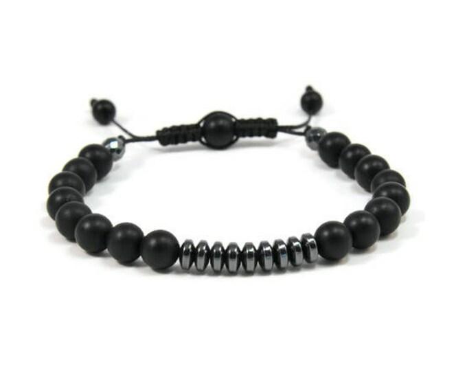 Urban Men's Onyx & Hematite Pull Tie Single Bracelet. Boho Jewelry. Bohemian Jewelry. Ideas for him. Gift for him.