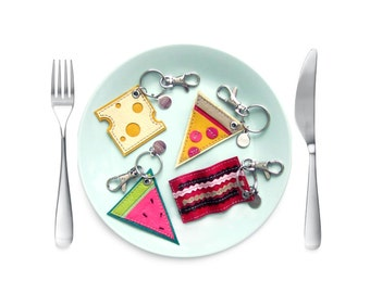 Pizza Purse Charm | Foodie Gift | Leather Key Chain Key Fob | Fake Food Flair | Pizza Slice Charm | Pepperoni Pizza | Emoji Keychain | Za