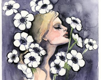 White Anemone Watercolor Painting