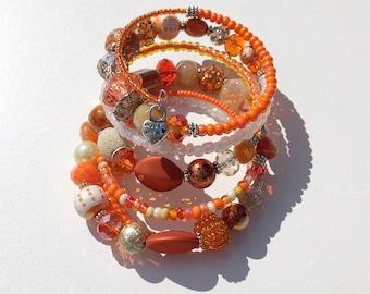 orange crush chunky beaded wrap bracelet