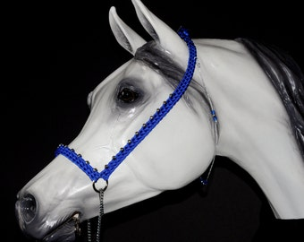 Hand Braided Arabian Style Show Halter, Horse Tack, ELECTRIC BLUE  ---New!