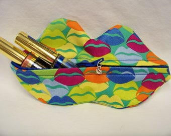 Zippy Lips in Kool Thing in Aqua - Makeup Pouch - Coin Purse - Lipstick Pouch - Ready To Ship