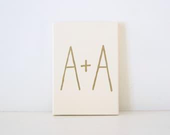 CUSTOM COUPLES MONOGRAM - Ivory & Gold Monogram Painting - Custom Gold Wedding Gift - Personalized Gold Engagement Gift - Modern Monogram