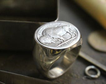 Signet Ring in silver - coin - 5 cent BUFFALO