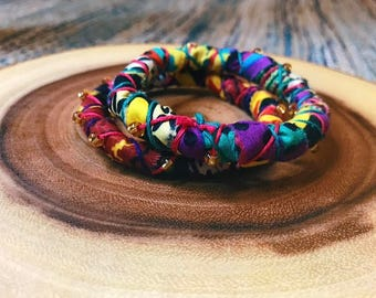 Set of Two Ankara Covered Amina Bangles.