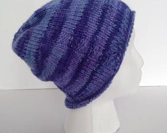 Blue, multi-color, knit, beanie, hand-knit, cap