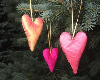 Lavender Mini Heart Sachet Ornament in Silk