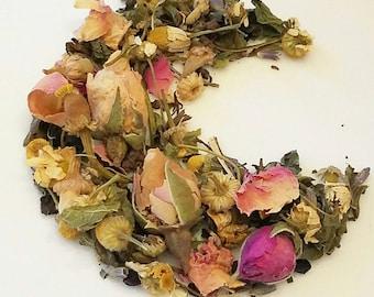 Bedtime Awaits Me - Bedtime Tea, Nighttime Tea, Loose Leaf Tea, Organic Herbal Tea, Lemon Balm, Chamomile, Rosebuds, Lavender, Elderberry