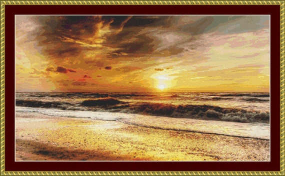 Beach Sunset Cross Stitch Pattern - Instant Digital Download