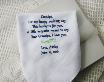 Grandfather- Grandpa Gift- Embroidered Handkerchief Choose Your Wording and Design- Unique Gift Idea