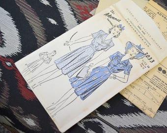 1940s Advance Dress Pattern, #3033, Size 16 (34 Bust, 37 Hip, 28 Waist)