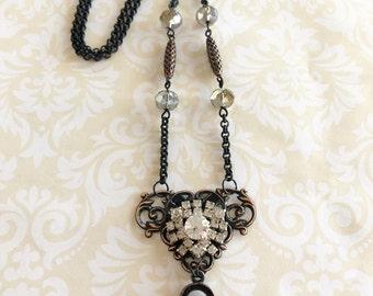 B'sue by 1928 Vintage Style Necklace, Lock Necklace, Vintage Rhinestone, Handmade Jewelry, Date Night, Classy Jewelry