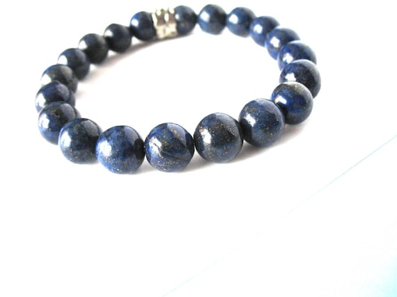 Mens's Bracelet in Celestial Blue Lapis Lazuli and Silver Accent Bead, Healing Properties, Mens Gift, Gift for Dad, Men's Jewelry