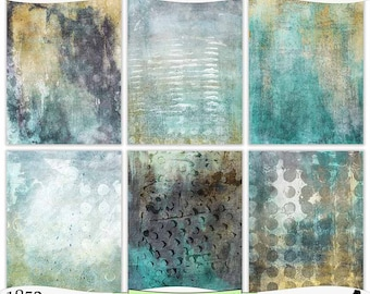 Gray Blue Gold Teal Summer Storm Digital Prints Instant Download Set of 6 - 8.5 x 11 inch Printable Papers JPEG & PDF Commercial Use 1852