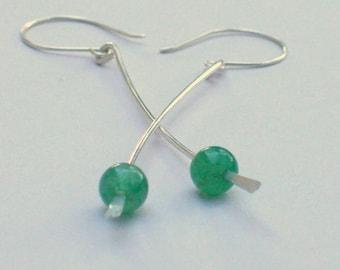 Gemstone Earrings - Long Silver Earrings - Green Aventurine Earrings - Green Stone - Sterling Silver Long Dangle Earrings - Chakra Earrings