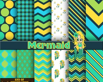 mermaid digital paper, digital scrapbook, background