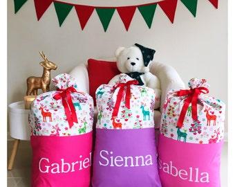 Handmade Christmas Nordic Reindeers Santa Sack