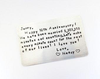 Stamped Metal Wallet Card, Wallet Insert Card, Stamped Card For Wallet, Personalized Wallet Card, Boyfriend Gift, Husband Gift