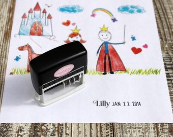 Kid Artwork Date Stamp, Cute Font Dater stamp for kids, Custom Self inking stamp, Dater stamp, Handmade date stamp --5076
