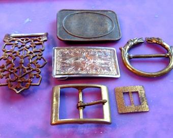 Take 30% Off SIX Unique Vintage Metal Belt Buckles